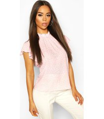 polka dot frill sleeve woven blouse, pastel pink
