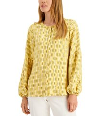 alfani wave-print button-front top, created for macy's