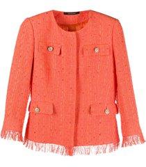 tagliatore frayed tweed jacket - orange