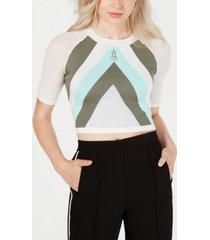 la la anthony striped knit crop top