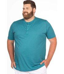 camiseta longford henley plus size azul - azul - masculino - dafiti