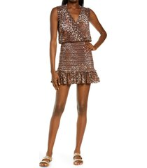 veronica beard cox dress cover-up, size x-large in brown multi at nordstrom