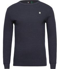 plated rib ringer slim r t ls t-shirts long-sleeved blauw g-star raw