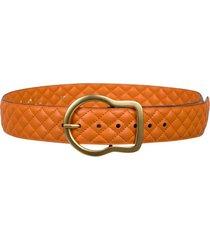 stitched sensation quilted belt in muted orange