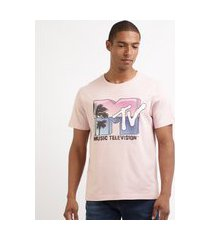 camiseta masculina mtv tropical manga curta gola careca rosa