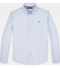 camisa con estampado de logos azul tommy hilfiger