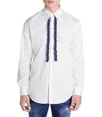denim-ruffle button-down shirt