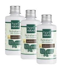 kit hidratante deo corporal boni natural amêndoa e lavanda 250ml com 3 unidades