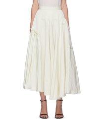 flared asymmetric hem pleated maxi skirt
