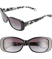 women's coach 56mm rectangle sunglasses - black/ print/ black gradient