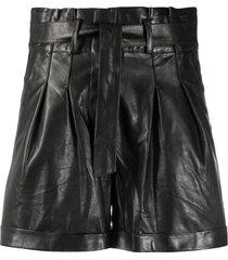 arma pleated leather shorts - black