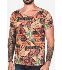 camiseta hermoso compadre étnica gola canoa masculina