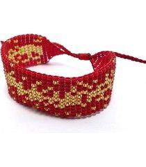 pulsera telar rojo y dorado