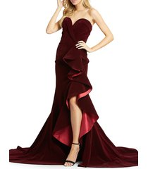 mac duggal women's strapless velvet trumpet gown - burgundy - size 14