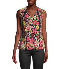 tommy hilfiger women's psychedelic floral top - midnight multicolor - size m