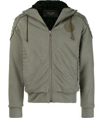 mr & mrs italy patched quilted hoodie - green
