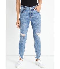 maurices womens jeans cool comfort high rise slant hem jegging blue denim