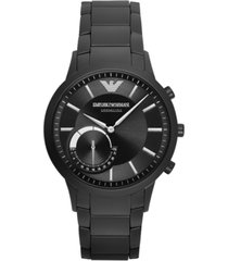 emporio armani men's black stainless steel bracelet hybrid smart watch 43mm art3001