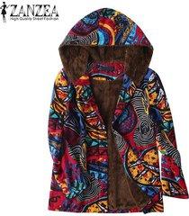 zanzea mujeres imprimió la vendimia floral de abrigo con capucha top coat jacket fleece -rojo