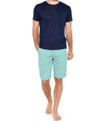 turquoise linen bermuda short