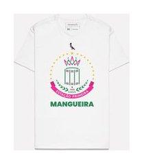 camiseta estampada brasão mangueira casual reserva branco