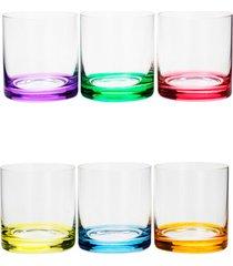 conjunto rojemac 6 copos baixos de cristal ecolã³gico set-bar favorit colorido - multicolorido - dafiti