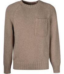 brunello cucinelli patched pocket plain knit sweater