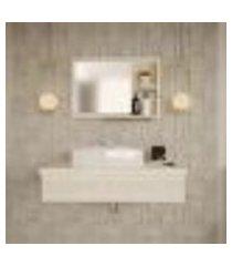 conjunto para banheiro bancada com cuba aria 41 retangular e espelheira city 801 snow