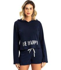 pijama recco curto moletinho flanelado azul marinho