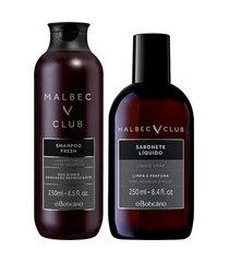 combo malbec club: shampoo fresh, 250ml + sabonete líquido, 250ml