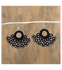 cotton dangle earrings, 'tatting with tradition' (mexico)