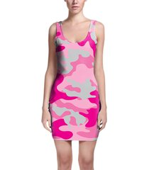 camouflage hot pink bodycon dress