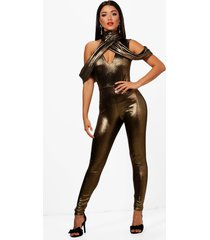 high neck cold shoulder metallic jumpsuit