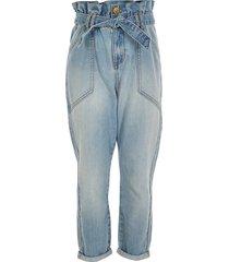 river island girls blue paperbag tie belted jeans