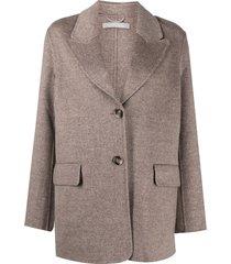 12 storeez cashmere-wool single-breasted blazer - brown