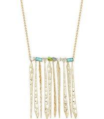 10k goldplated & multistone fringe necklace