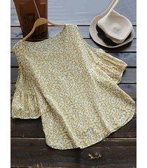 camicia in cotone con stampa di foglie vintage