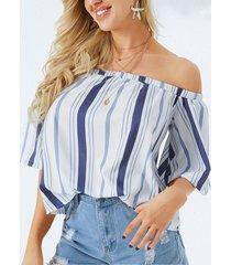 yoins blusa de rayas de manga corta con hombros descubiertos