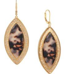 trifari gold-tone tortoise look drop earrings