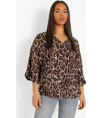 luipaardprint oversized blouse met opgerolde mouwen, brown