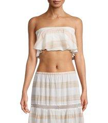 pilyq women's mila straight-across bikini top - tan - size xs/s