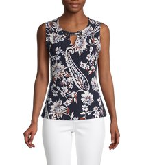 tommy hilfiger women's floral-print sleeveless top - midnight blue - size l