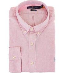 man pink linen slim fit shirt