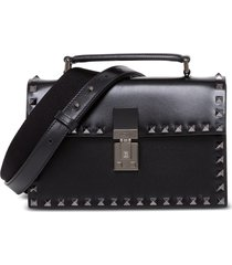 valentino garavani rockstud crossbody bag in black leather