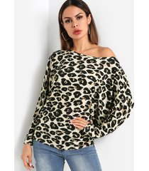 leopard one blusa con hombros descubiertos y manga dolman