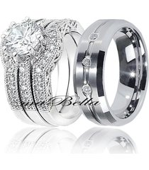 4 pc his tungsten & hers sterling silver 2.51ct wedding engagement ring band set