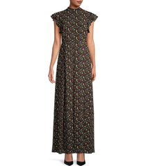 mikael aghal women's ruffled floral maxi dress - red black - size 10
