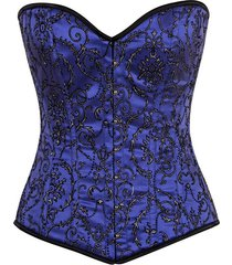 daisy corsets top drawer elegant royal blue embroidered steel bone corset