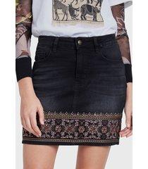 falda desigual negro - calce regular