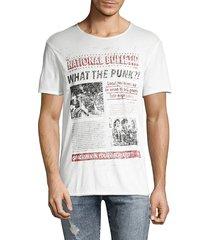 john varvatos men's punk paper cotton tee - salt - size xl